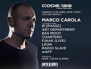 CONCURSOS: 4 entradas DOBLES Code130 MARCO CAROLA