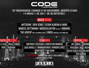 Horarios 15 aniversario Code@fabrik 17-10-18