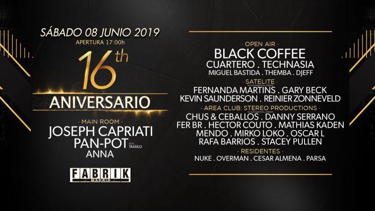 Horarios Fabrik 16 aniversario 8.06.19